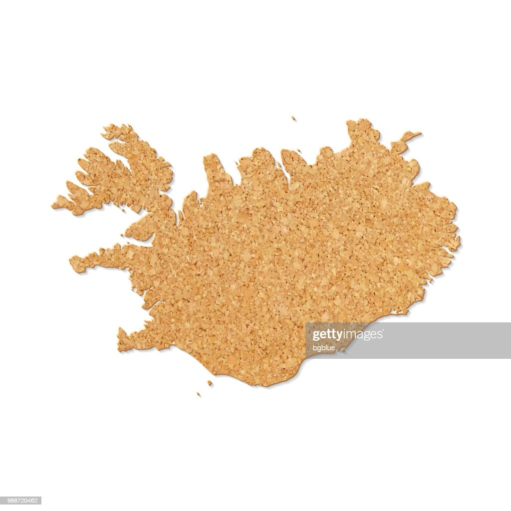 Iceland Map In Cork Board Texture On White Background Vector Art ...