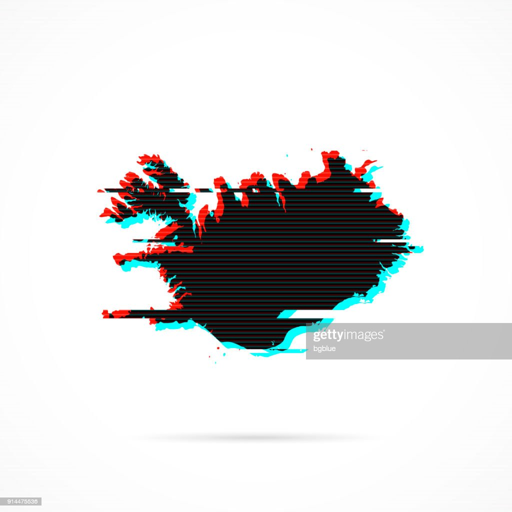 Iceland Map In Distorted Glitch Style Modern Trendy Effect stock ...