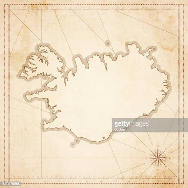 Iceland map in retro vintage style - old textured paper