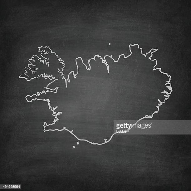 Iceland Map on Blackboard - Chalkboard