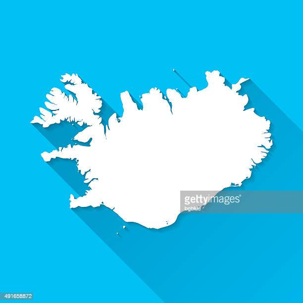 Iceland Map on Blue Background, Long Shadow, Flat Design