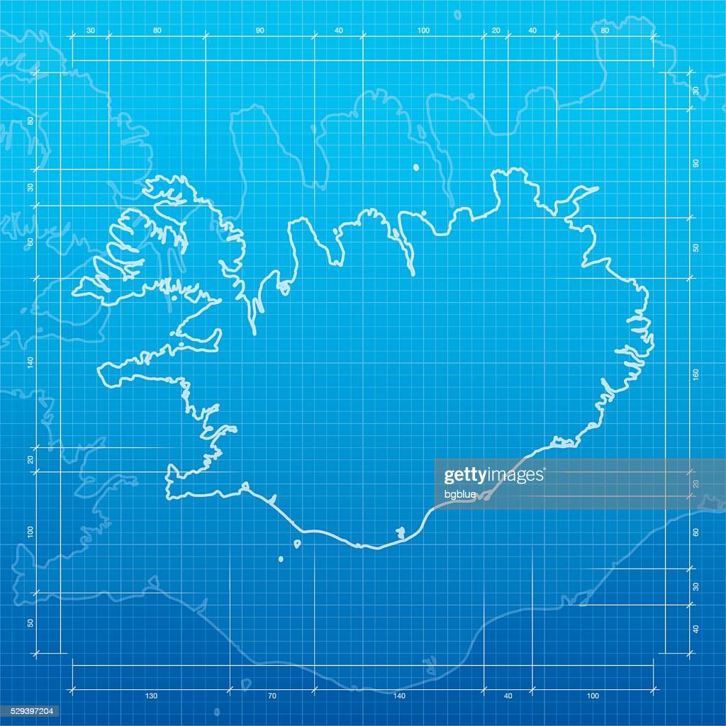 Iceland map on blueprint background vector art getty images iceland map on blueprint background vector art malvernweather Image collections