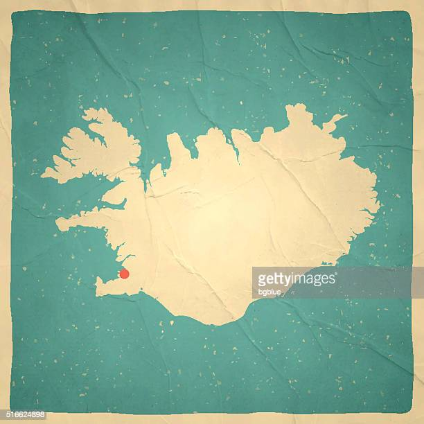 Iceland Map on old paper - vintage texture