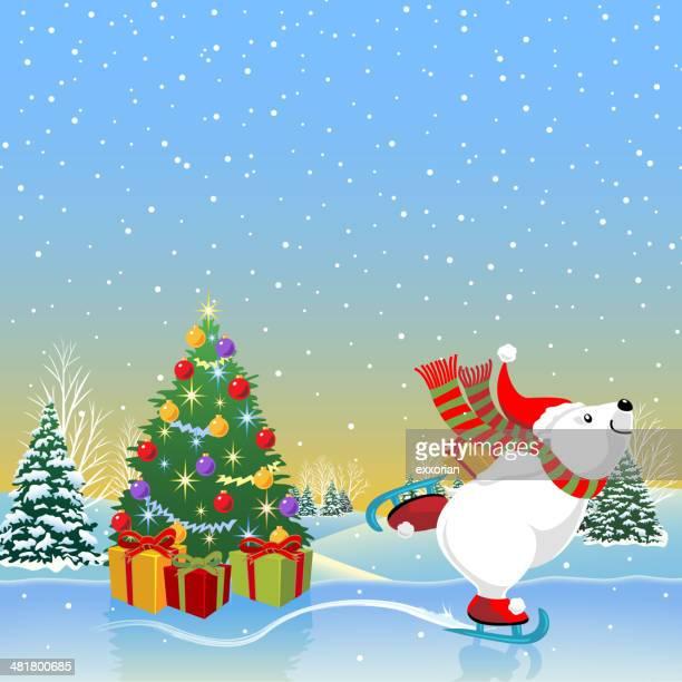 illustrations, cliparts, dessins animés et icônes de patinoire polar bear - ours polaire