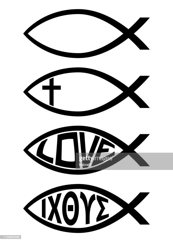 Ichthus Christian Fish Symbol Religious Icon Vector Illustration
