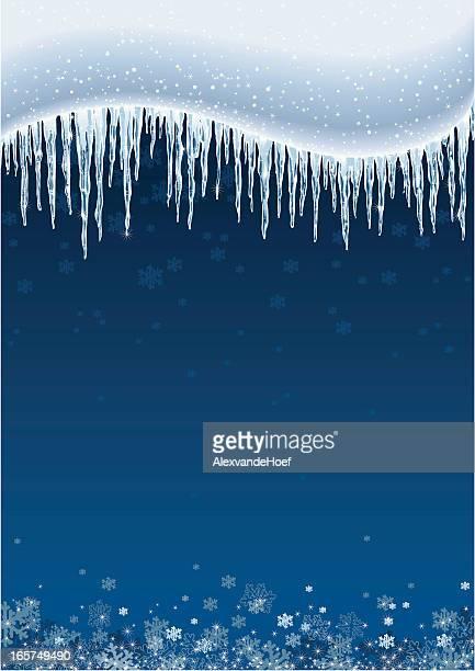 Icicles と雪背景