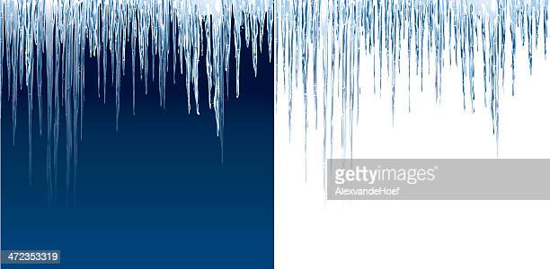 Icicles on blue and white