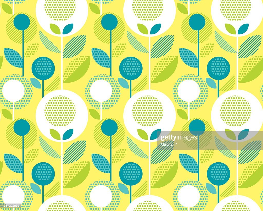 icid yellow 60s floral retro pattern. geometry decorative style