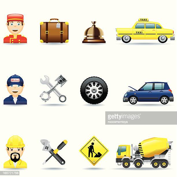 icon 3 set / hotel, mechanic and construction - yellow taxi stock illustrations, clip art, cartoons, & icons