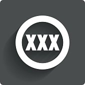 XXX icon. Adults only content sign. Vector.