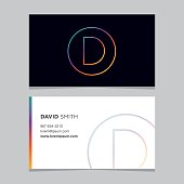 icon alphabet letter 'D', with business card template.