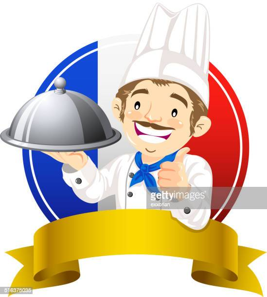 icon and banner with french chef - serving size stock illustrations, clip art, cartoons, & icons