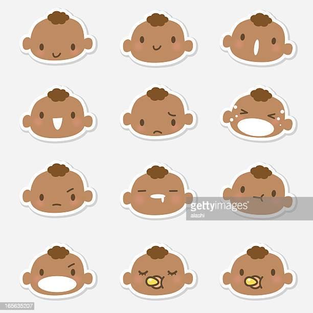 ilustrações de stock, clip art, desenhos animados e ícones de ícone ('emoticons')-bebê cara em diversos ambientes (choro, a sorrir - chadebebe