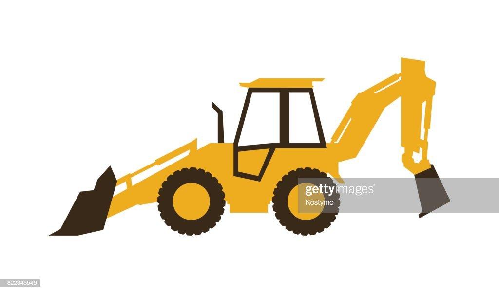 Icon backhoe loader. Construction machinery. Vector illustration. Sleek style.