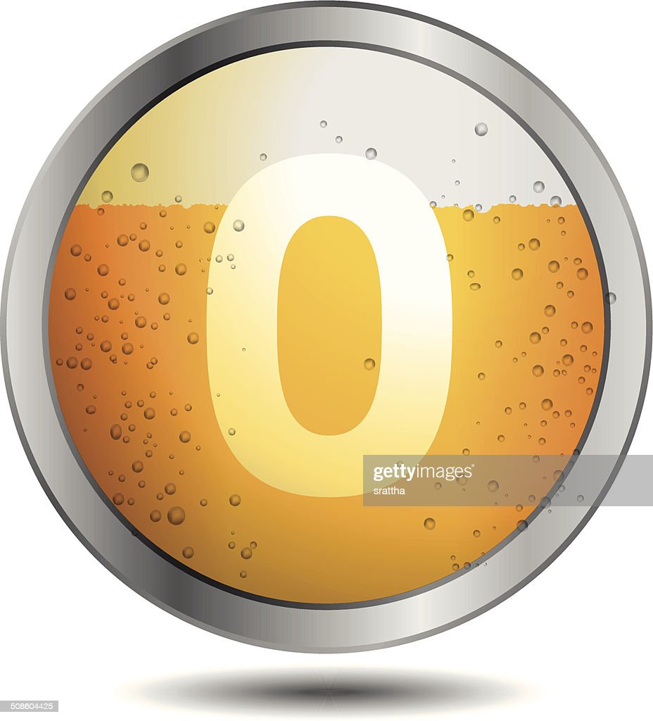 Icono de cerveza alfabeto letras 0 : Arte vectorial