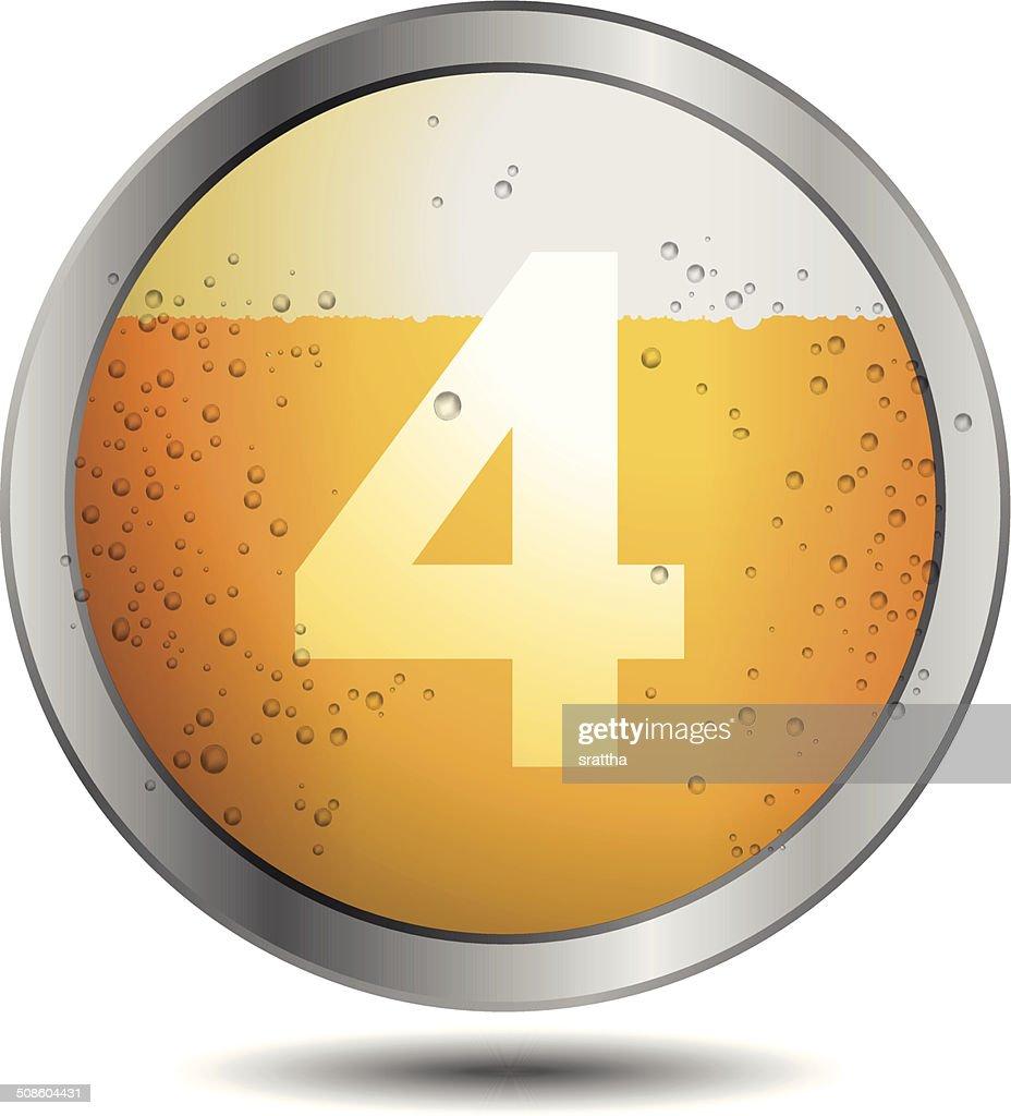 Ícone da cerveja Alfabeto letra 4 : Arte vetorial