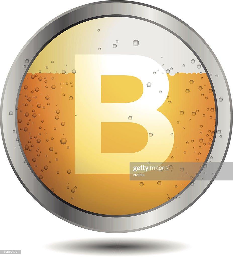 Ícone da cerveja Alfabeto Letra B : Arte vetorial