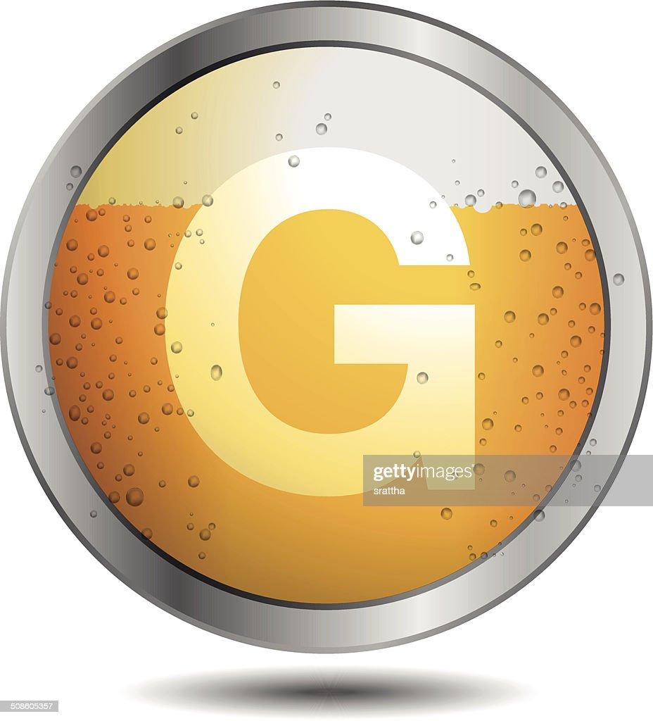 Ícone da cerveja Alfabeto Letra G : Arte vetorial