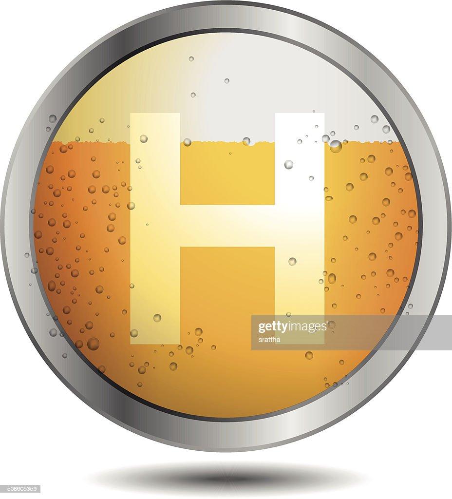 Ícone da cerveja Alfabeto Letra H : Arte vetorial