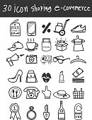 icon business shopping  e-commerce vector hand drawn art