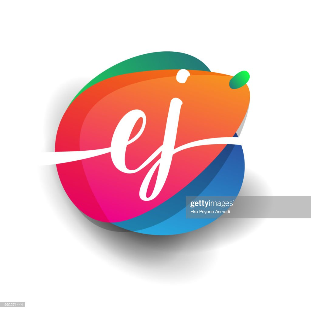 icon button with colorful splash and alphabet.