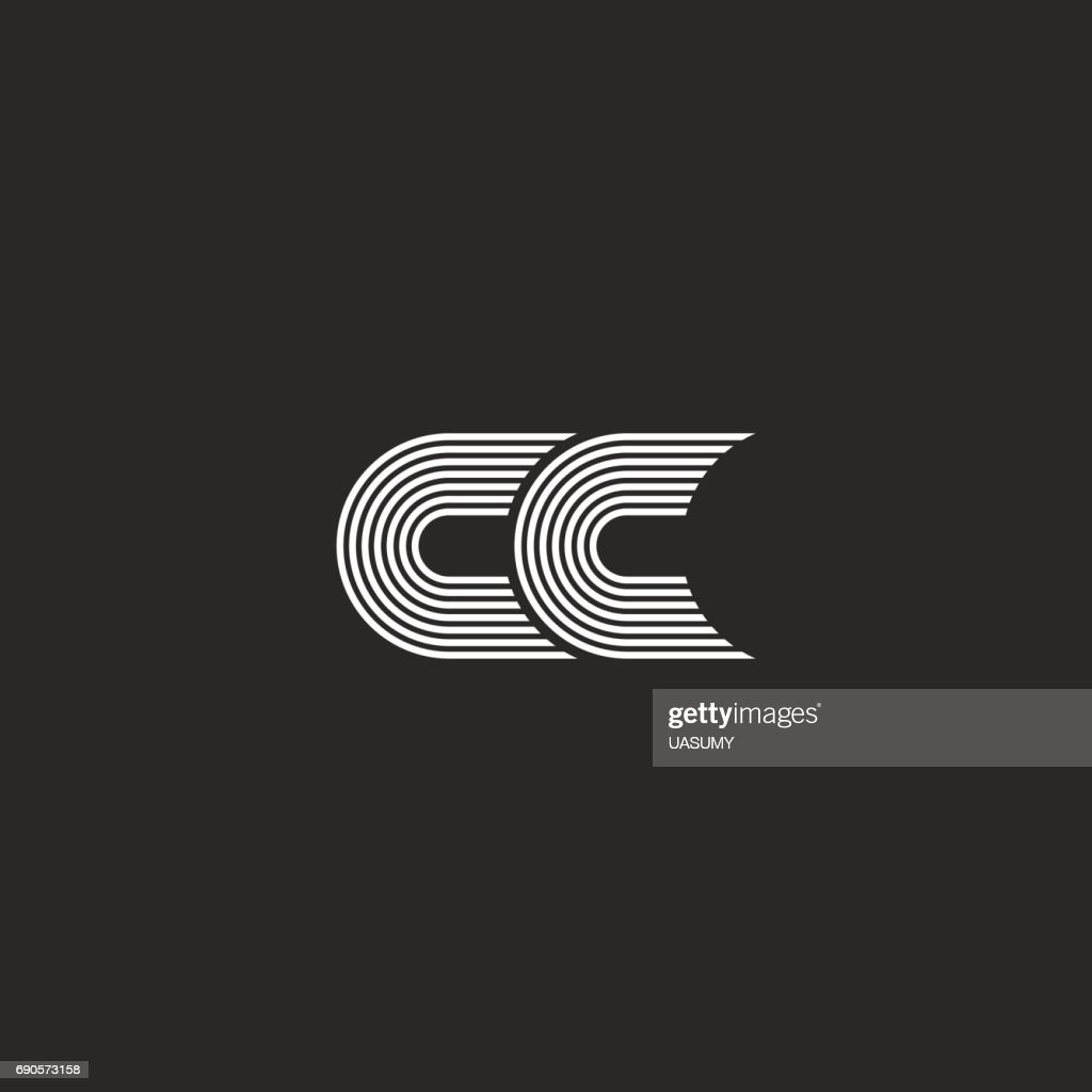 icon,  CC monogram letter, simple two C initials together stylish wedding card emblem mockup, parallel lines black and white design element template