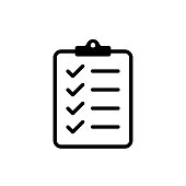 Icon clipboard checklist or document with checkmarck with text in flat style.
