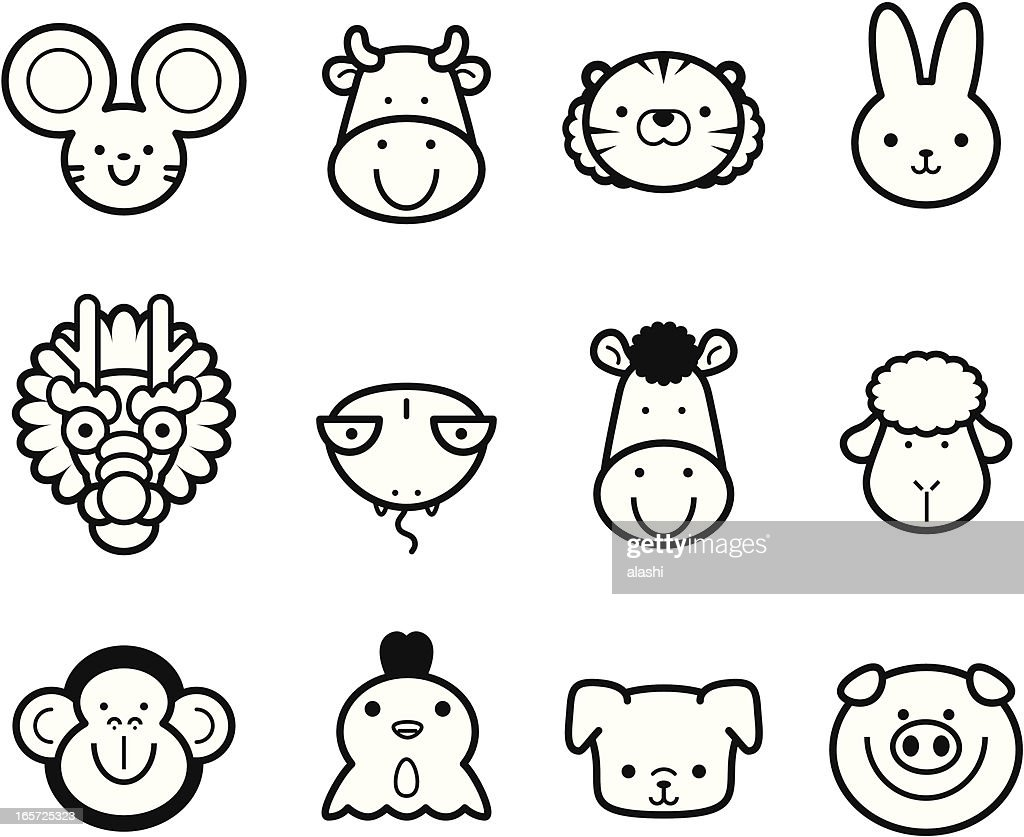 Icon Collection: Cute Chinese Zodiac in black and white