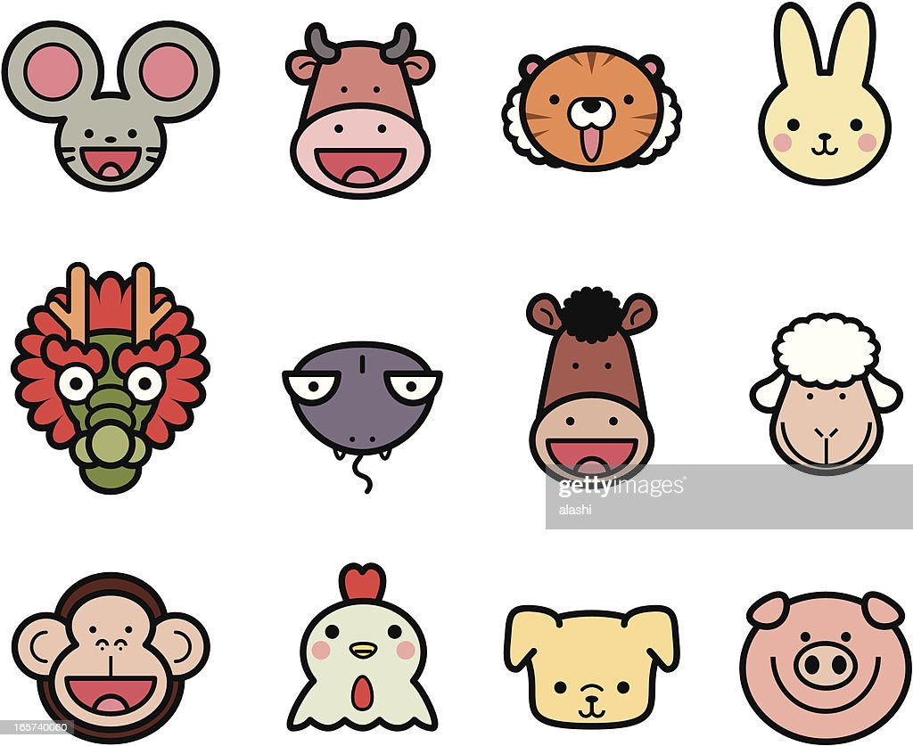 Icon Collection: Cute Chinese Zodiac in color