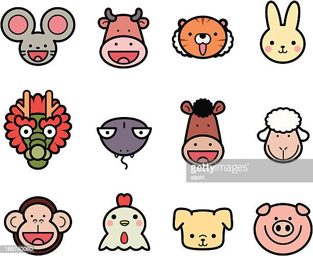 icon collection: cute chinese zodiac in color - chinese zodiac sign stock illustrations, clip art, cartoons, & icons