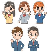 Icon collection of group of Japanese high school students