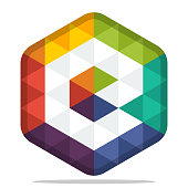 icon colorful hexagon  with combination of the initials of the letter E
