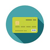 Icon credit bank card in a flat style with shadow
