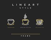 Icon cups . Emblem line art design. Elegant brochure restaurant coffee.