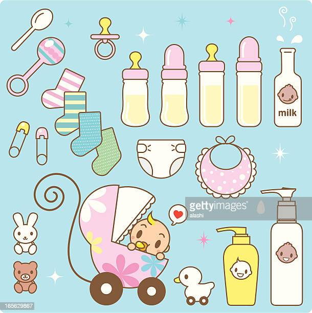Icon: Cute Baby in a Stroller and Babies Goods