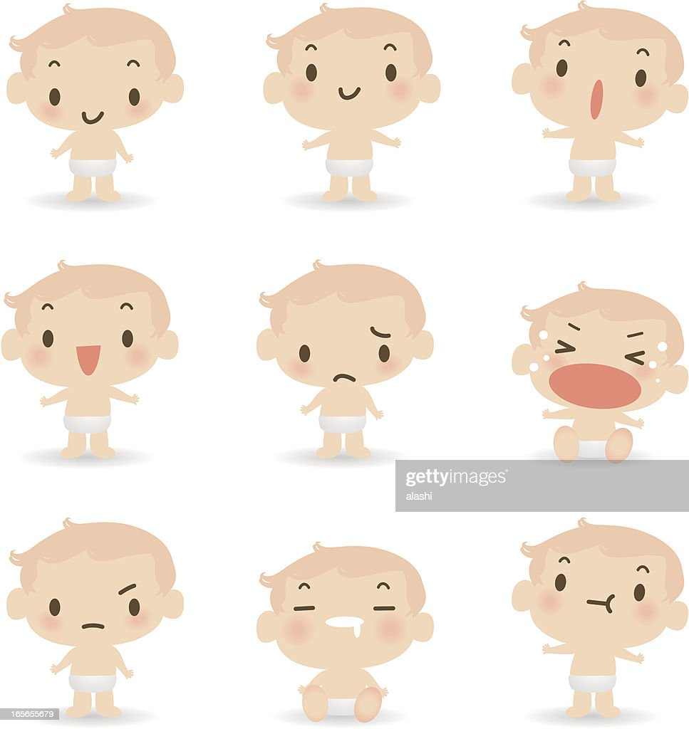 Icon ( Emoticons ) - Cute Baby ( mad, crying, smiling, sleeping )
