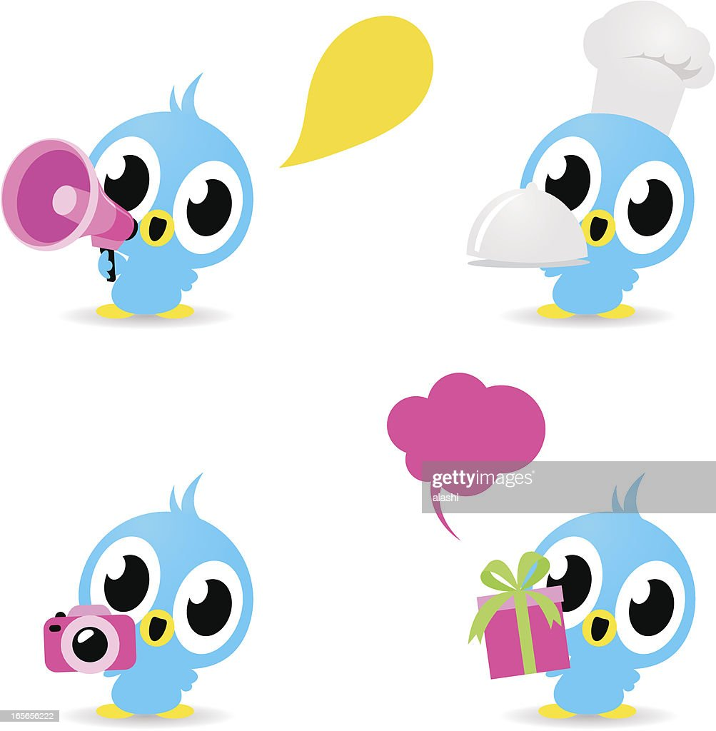 Icon  - Cute Birds (Photographing, food service, gift, loudspeaker)