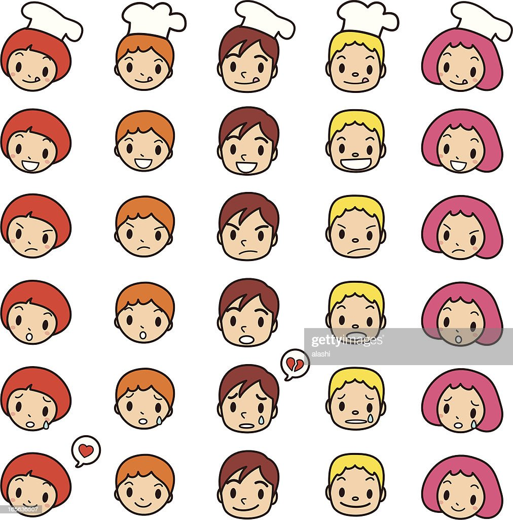 Icon ( Emoticons ) - Cute boy and girl(smiling, talking, angry, crying)