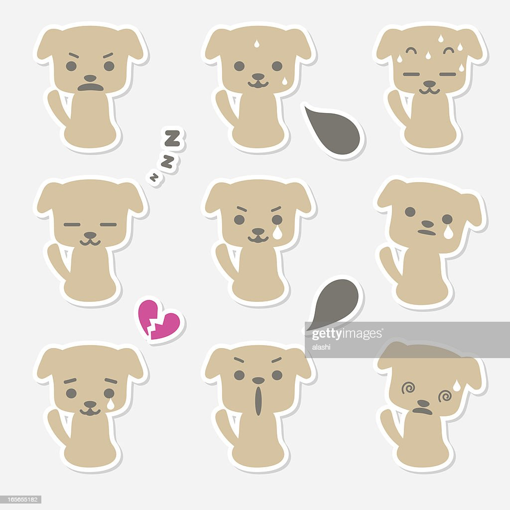 Icon ( Emoticons ) - Cute Dog(puppy angry, shouting, sleeping, crying, dizziness)