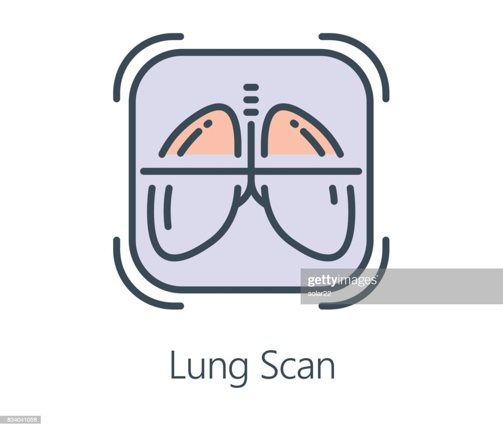 Icon design lung scan in flat line style.