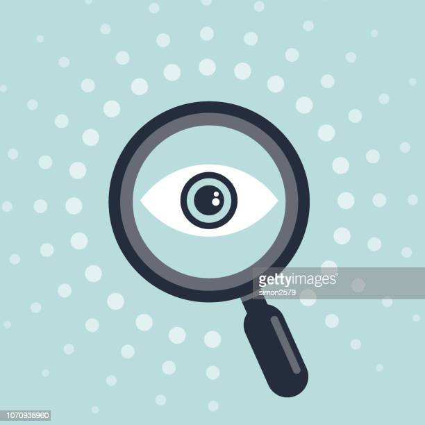icon design of eye and magnifying glass - looking at view stock illustrations