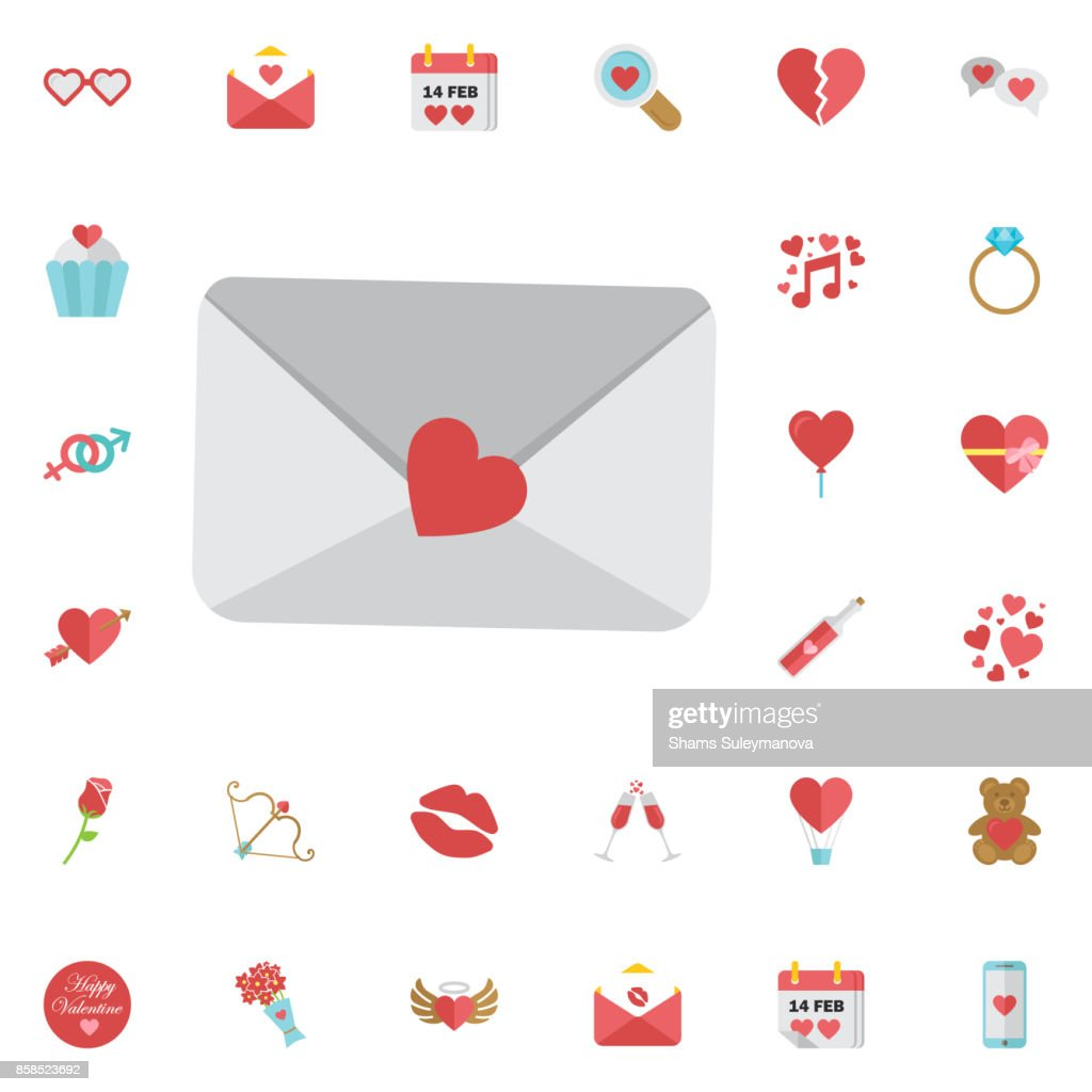 icon email with heard love letter sing for web sites services