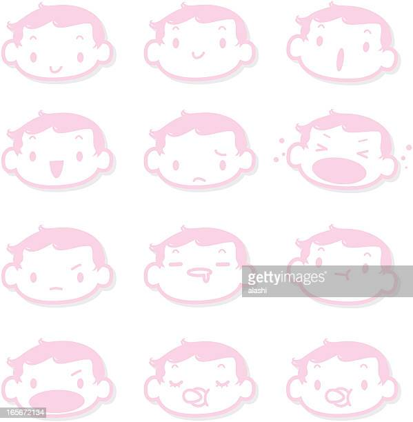 Icon, Emoticons  - Cute Baby Face( mad, crying, smiling, sleeping )