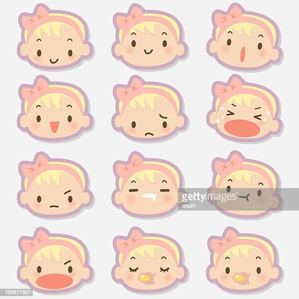 Icon, Emoticons - Cute Baby Girl Face, crying, smiling, drool