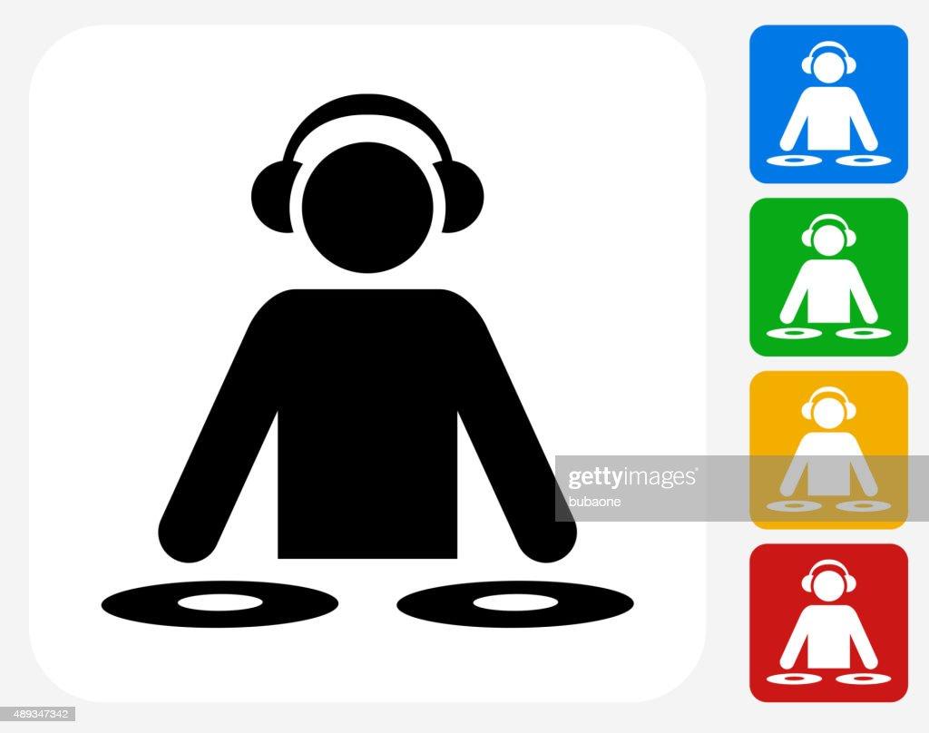 DJ Icon Flat Graphic Design