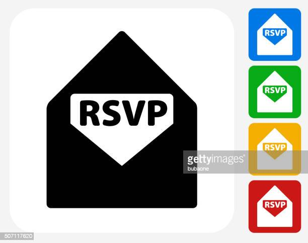 rsvp icon flat graphic design - rsvp stock illustrations