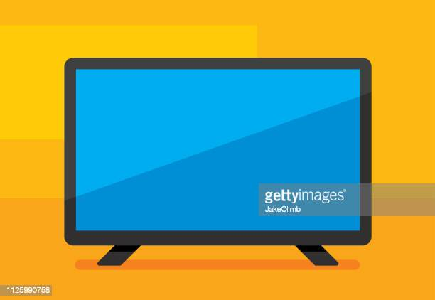 hdtv icon flat - television industry stock illustrations