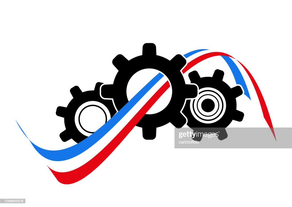 Icon gearing system with french flag - Vector