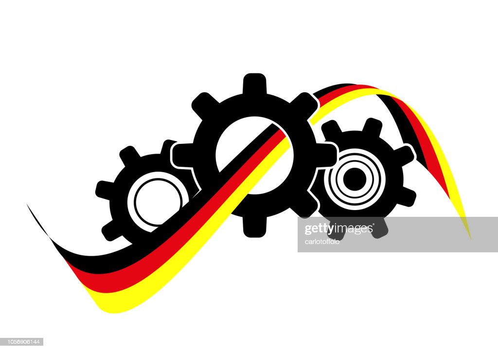 Icon gearing system with german flag - Vector