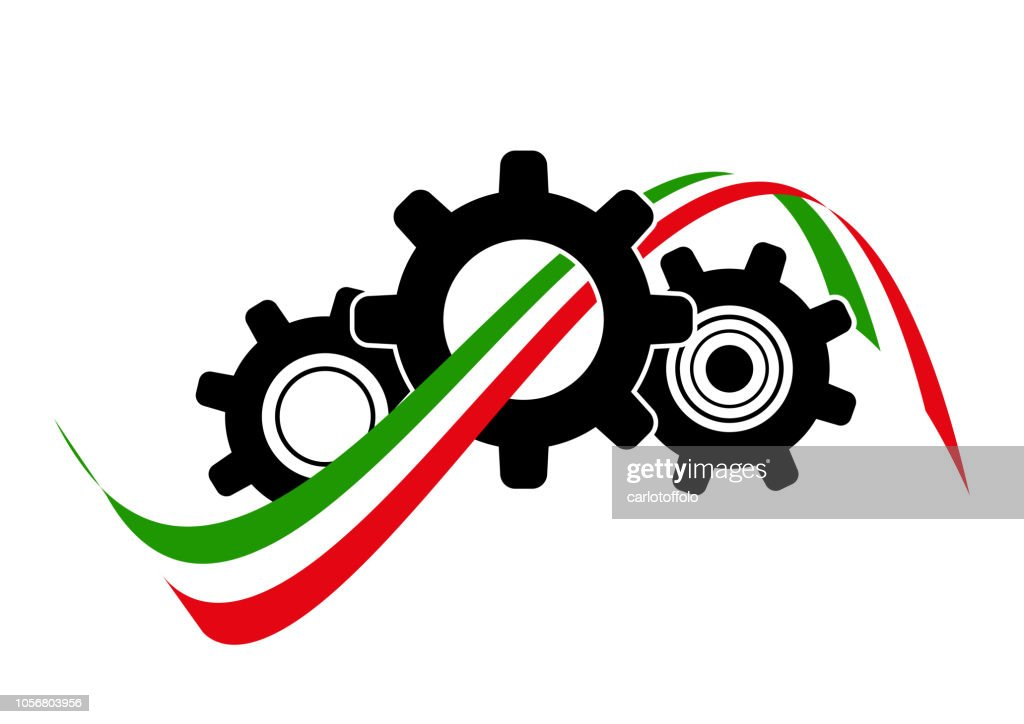 Icon gearing system with italian flag - Vector